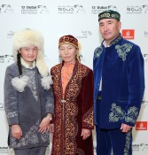 "DUBAI, UNITED ARAB EMIRATES - DECEMBER 10: Aisholpan Nurgaiv, Almagul Kuksygyen and Nurgaiv Rys attend ""The Eagle Huntress"" red carpet during day four of the 13th annual Dubai International Film Festival held at the Madinat Jumeriah Complex on December 10, 2016 in Dubai, United Arab Emirates. (Photo by Neilson Barnard/Getty Images for DIFF)"